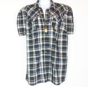 Reitmans plus blue/black plaid button down blouse